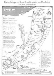Die Humboldt Reiseroute, gezeichnet von Reinhold Mengel